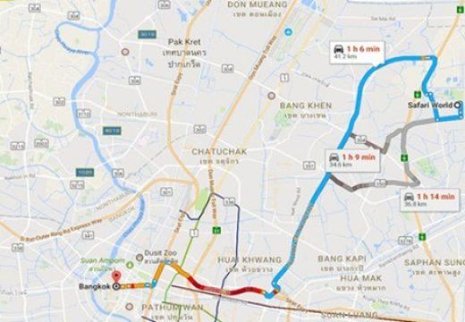 Cách tự đi đến safari world bangkok bằng xe buýt và taxi/songthaew